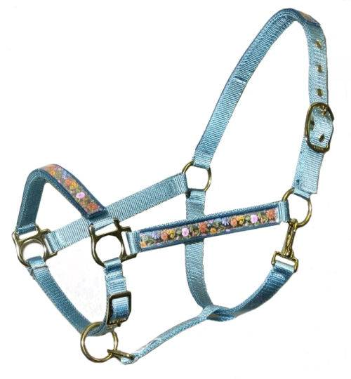 Ronmar Nylon Halter with Snap - Leather Crown/Double Buckle - Springtime