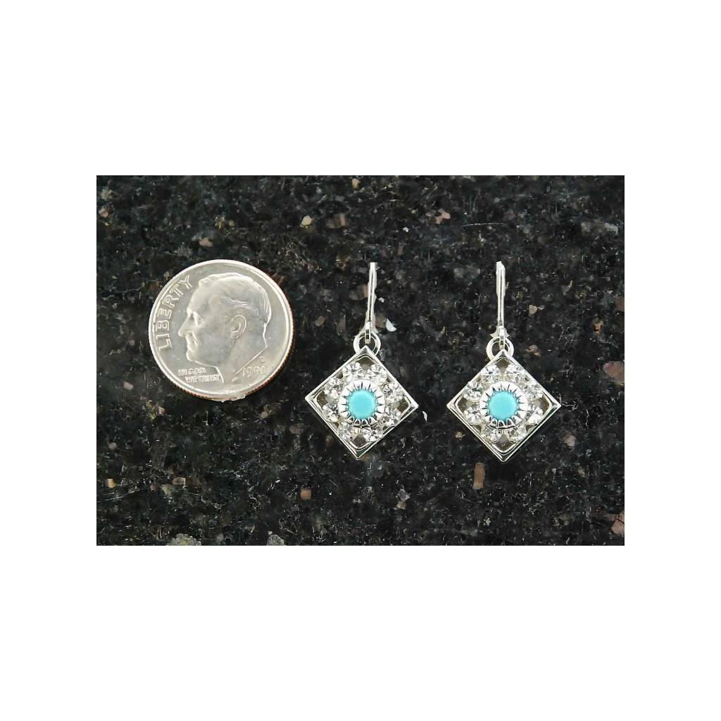 Finishing Touch Diamond Shaped Swarovski Crystal Turquoise Earrings - Euro Wire