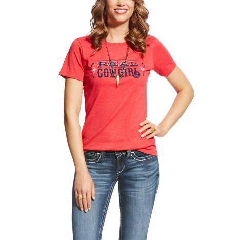 Ariat Ladies Real Tee - Cowgirl Red