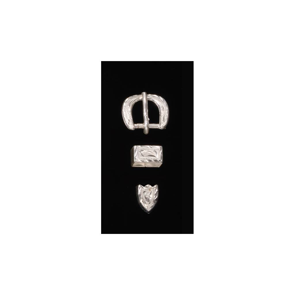 Silver Buckle Tip and Keeper Set