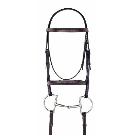 Camelot Gold Fancy Stitched Raised Padded Bridle with Laced Reins