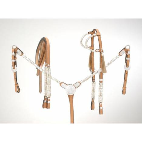 Royal King Ferrules/Rawhide Double Ear Show Headstall