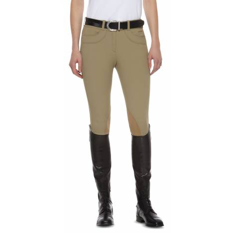 Ariat Ladies Olympia Lowrise Front Zip Knee Patch Breeches - Khaki