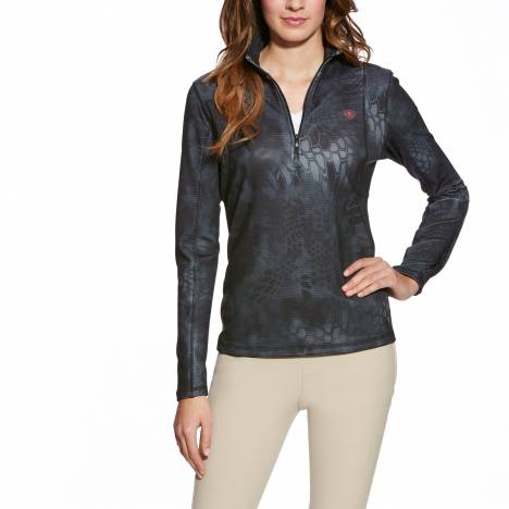 Ariat Ladies Kryptek Camo 1/4 Zip - Black Typhoon