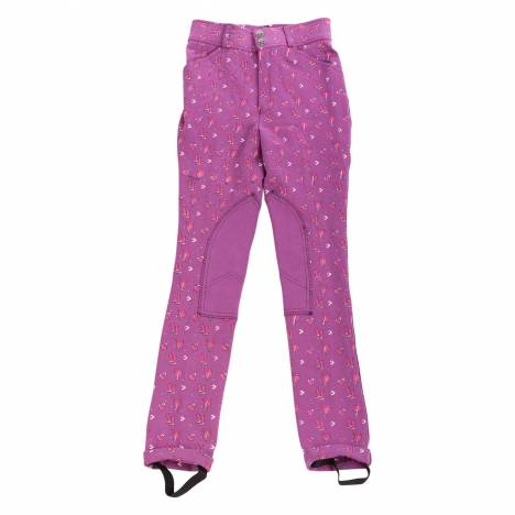 Huntley Kids Daisy Clipper Purple Patterned Knee Patch Riding Pants