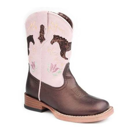 Roper Infant Faux Leather Square Toe Glitter Horse Boots - Brown/Pink