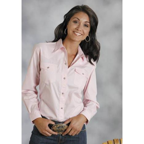 Roper Ladies Poplin Long Sleeve Shirt - Pink