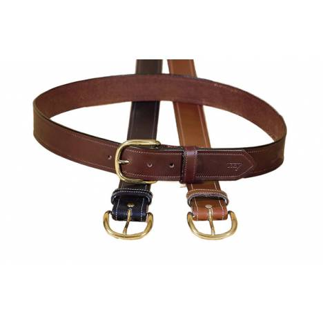 "Tory Leather 1 1/2"" Stitched Belt with Brass Buckle"