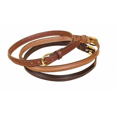 "TORY LEATHER 3/4"" Raised Center Belt with Brass Buckle"