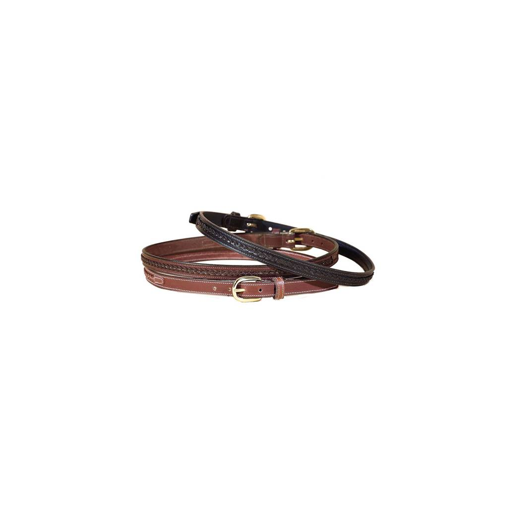 "TORY LEATHER 3/4"" Belt with Raised Center Braid & Brass Buckle"