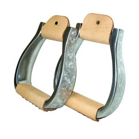 Coronet Aluminum Modified Oxbow Engraved Stirrups