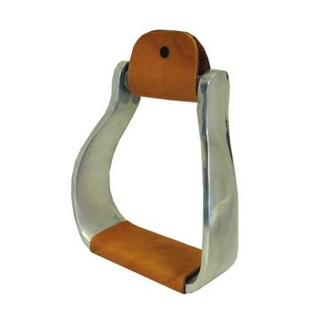 Coronet Aluminum Western Curved Stirrups with Leather Tread