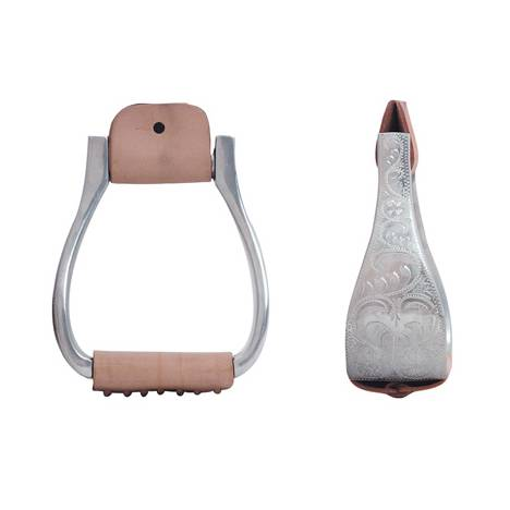 Metalab Aluminum Stirrups, Engraved Large Roper