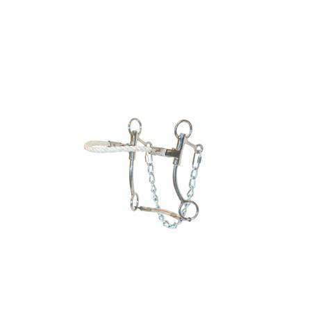 Metalab Stainless Steel Hackamore Bit with Rope NoseBand & Quick Link Chain
