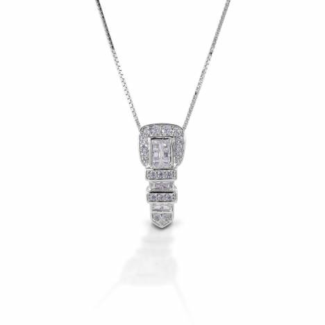 Kelly Herd Clear Ranger Style Buckle Necklace - Sterling Silver