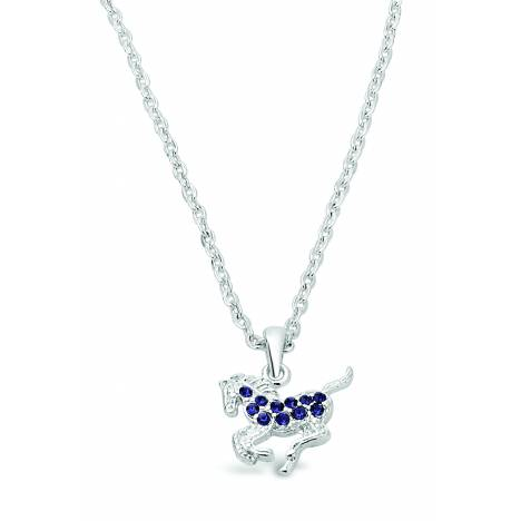 Kelley Kid's Galloping Horse Necklace with Rhinestones