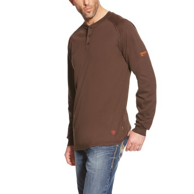 Ariat Mens FR Long Sleeve Henley Shirt - Coffee Bean - XX-Large Tall