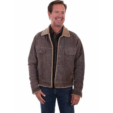 Scully Mens Trail Leather Jacket With Faux Shearling