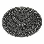 Montana Silversmiths Antiqued Buck Stitch Oval Soaring Eagle Attitude Buckle