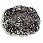 Montana Silversmiths Scalloped Lace Praying Cowboy Attitude Buckle