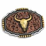 Montana Silversmiths Tri-Color Steer Skull Attitude Buckle