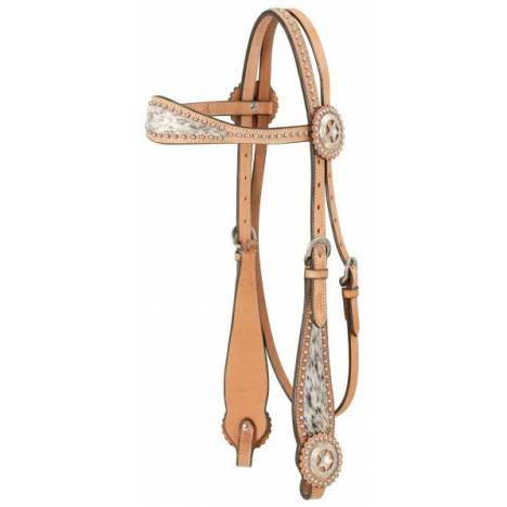 Browband Headstall With Spotted Hair Overlay
