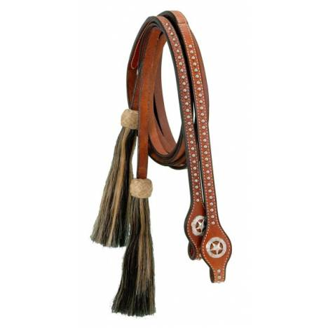 Split Reins With Silver Dots, Star Conchos & Horsehair Tassels