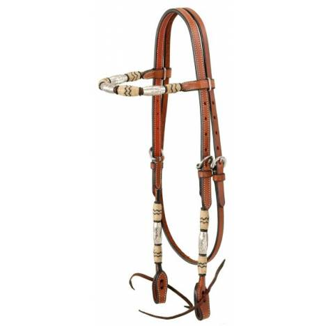 Browband Headstall With Braided Rawhide & Silver Barrels