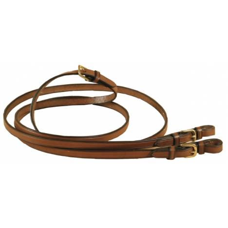 TORY LEATHER English Style Rein - Brass Buckle Bit Ends