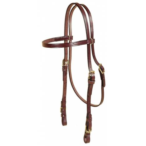 TORY LEATHER Brow Band Headstall - Brass Buckle Bit Ends