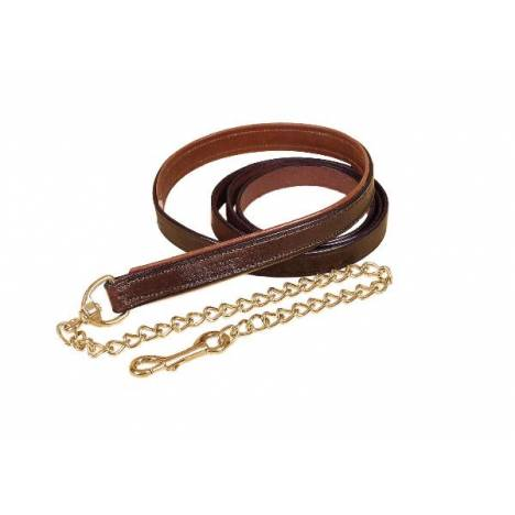 "Tory Leather 1"" Padded Lead with Brass Chain"