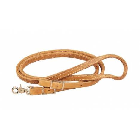TORY LEATHER Double & Stitched Roping Reins - Nickel Hardware