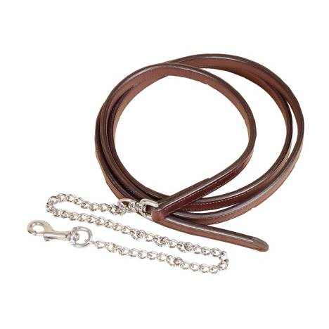 """TORY LEATHER 3/4"""" Full Double & Stitched Lead with Nickel Plated Chain"""