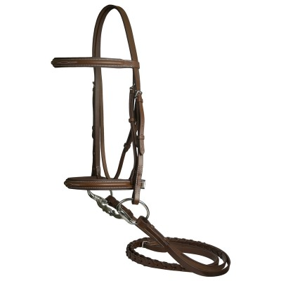 DaVinci Fancy Raised Padded Bridle with Flat Laced Reins - Chestnut - Oversize