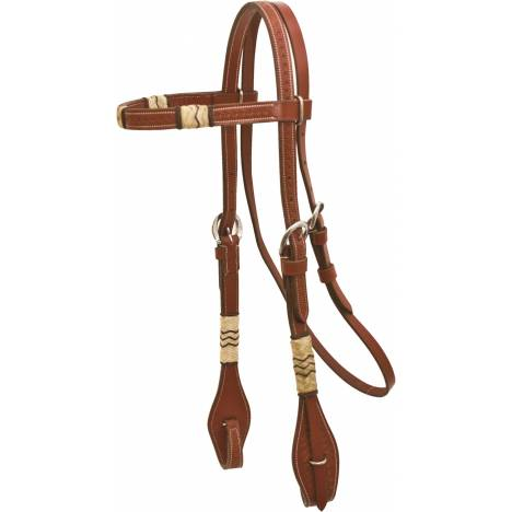 Basket Tooled Browband Headstall with Rawhide
