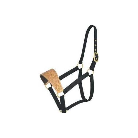 Abetta Nylon Halter with Floral-Tooled Leather Noseband