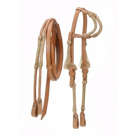Rolled Rawhide Western Bridle with Double Ear