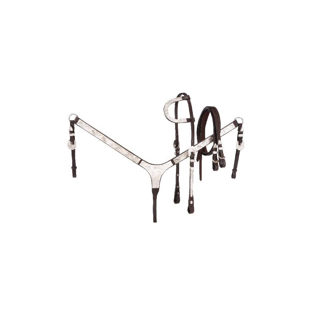 Tough-1 Silver Show Set - Single Ear Headstall, Split Reins and Breastcollar