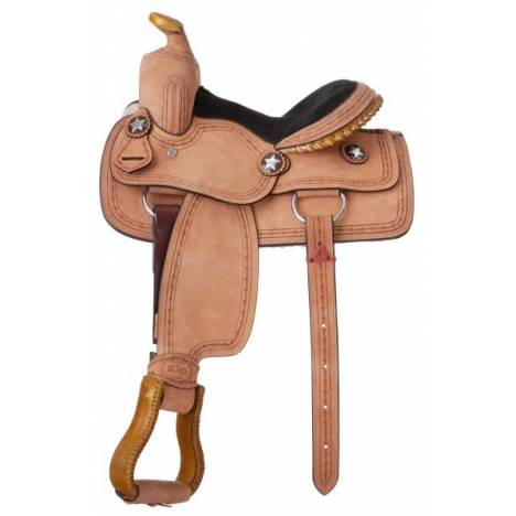 King Series Cowboy With Barbwire Tooling Youth Saddle Package