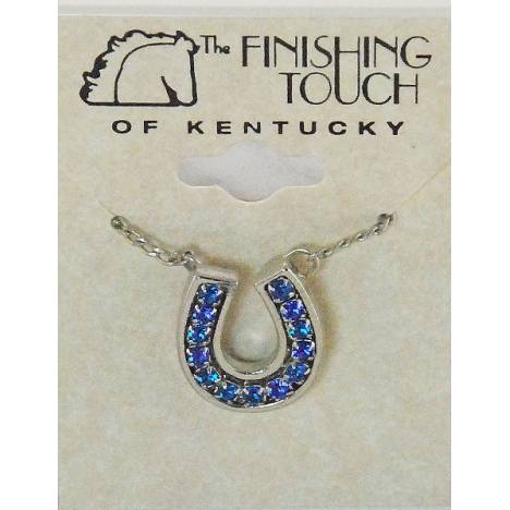 Finishing Touch 2-Tone Channel Horseshoe Necklace - Blue