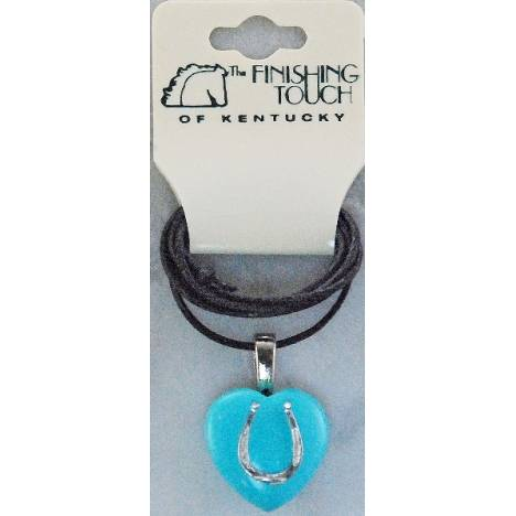 Finishing Touch Heart with Horseshoe and Bali Cord Necklace - Turquoise