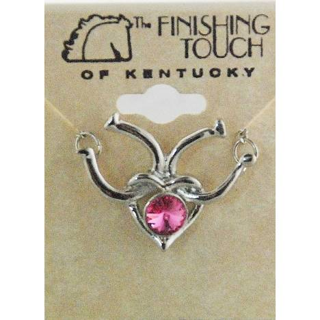 Finishing Touch Heart with Horseshoe Necklace - Pink Swarovski