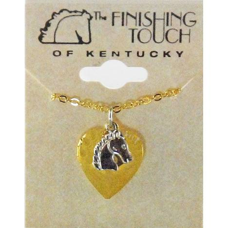 Finishing Touch 2-Tone Heart Locket with Horse Head Charm