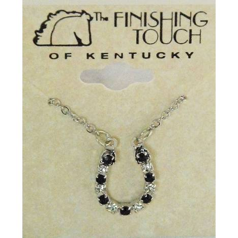 Finishing Touch Jet/Crystal Horseshoe Necklace