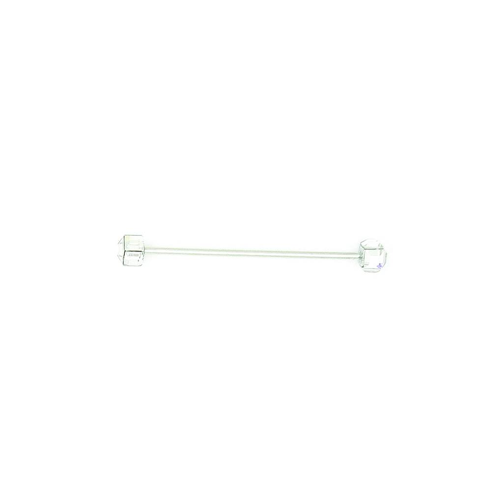 Finishing Touch Square Clear Crystal Collar Bar Silver