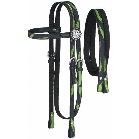 Tough-1 Dot & Print Browband Headstall/Rein Set - Zebra