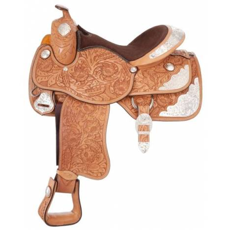 Silver Royal Grand Majestic Youth Silver Show Saddle - Berry Trim