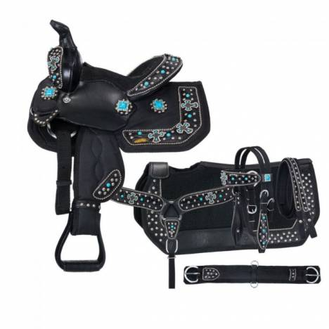 Eclipse By Tough-1 Starlight Turquoise Cross Pro Pony Trail Saddle - 5 Piece