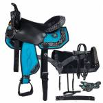 Eclipse By Tough-1 Starlight Turquoise Cross Pro Trail Saddle - 7 Piece