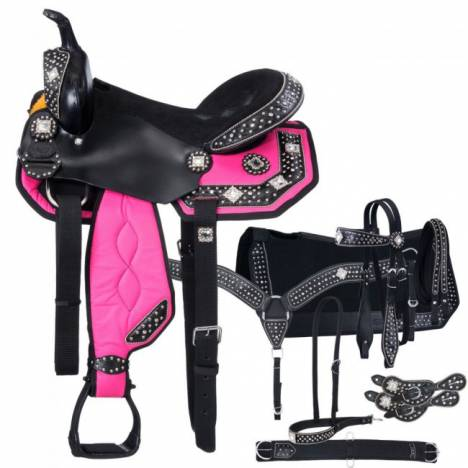 Eclipse By Tough-1 Starlight Square Crystal Pro Trail Saddle - 7 Piece